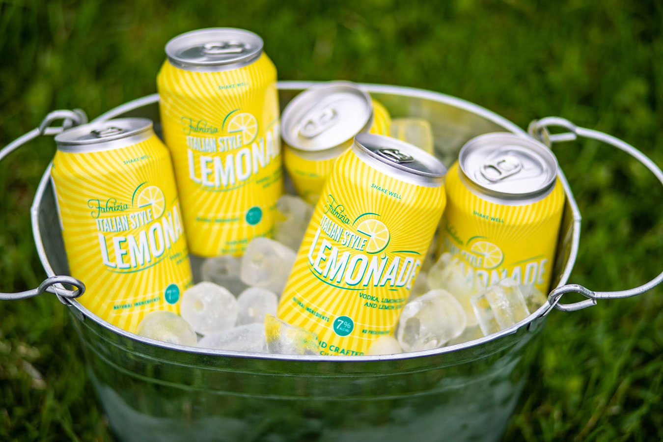 lemonade cans in bucket